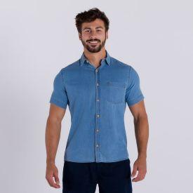 Camisa Jeans Manga Curta Marc Alain Blue Claro