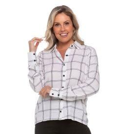 Camisa Listrada Patrícia Foster Branca Gride Pto