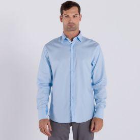 Camisa Manga Longa de Algodão Marc Alain Azul Claro