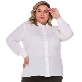 Camisa Plus Size de Viscose Maquinetada Patrícia Foster Mais Branco