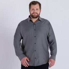 Camisa Plus Size Manga Longa Oxford Marc Alain Preto