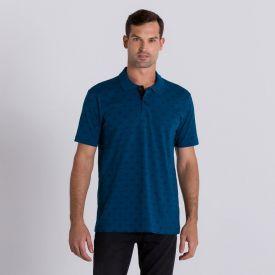 Camisa Polo com Estampa de Bicicletas Marc Alain Azul