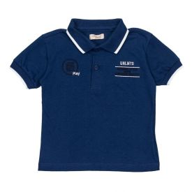 Camisa Polo de 1 a 3 Anos Fakini Marinho Claro