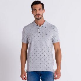 Camisa Polo Manga Curta com Estampa Rotativa Rovitex Mescla Claro