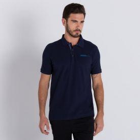 Camisa Polo Manga Curta com Silk Colisão Azul Marinho