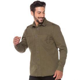 Camisa Sarja com Bolso Deslocado Thing Verde Militar