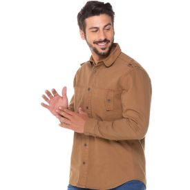 Camisa Sarja com Bolso Deslocado Thing Caramelo