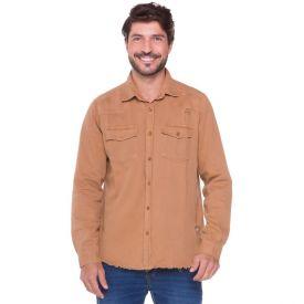 Camisa Sarja com Bolsos e Puídos Rock&Soda Caramelo