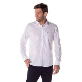 Camisa Social Micromotivos Marc Alain Branco C/Marinho
