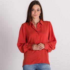 Camisa Viscose com Babadinhos no Punho Patrícia Foster Ferrugem