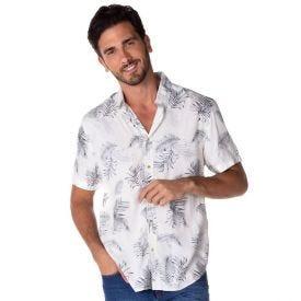 Camisa Viscose Folhagem Marc Alain Off+Preto