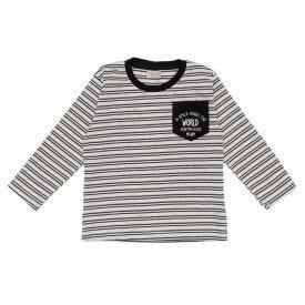 Camiseta 1 a 3 anos Manga Longa Listrado Fakini Asfalto