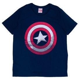 Camiseta 12 a 16 anos Escudo Marvel Azul Marinho