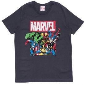 Camiseta 12 a 16 anos Herois da Marvel Cinza Medio