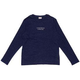 Camiseta 12 a 16 anos M/Malha Botone + Frase Fakini Azul Marinho