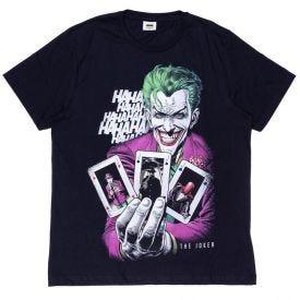Camiseta 12 a 16 anos M/Malha Coringa Cartas Dc Comics