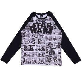 Camiseta 12 a 16 anos M/Malha Star Wars Quadrinhos Disney Preto