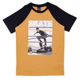 Camiseta 12 a 16 anos Raglan Skate Hot Dog Amarelo Queimado