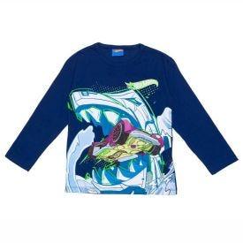 Camiseta 4 a 10 anos M/Malha Aventura Hot Wheels Mattel Azul Marinho