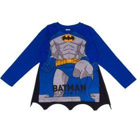 Camiseta 4 a 10 anos M/Malha Batman com Capa DC Comics Azul Escuro