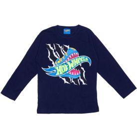 Camiseta 4 a 10 anos M/Malha Hot Wheels Aventura Mattel Azul Marinho
