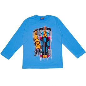Camiseta 4 a 10 anos M/Malha Hot Wheels Corrida Mattel Azul Caribe
