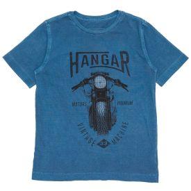 Camiseta 4 a 10 anos M/Malha Penteada Moto Hangar Marinho