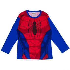 Camiseta 4 a 10 anos M/Malha Spider Man Manga Longa Marvel Azul Escuro