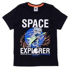 Camiseta 4 a 10 anos Malha Dino Hot Dog Preto
