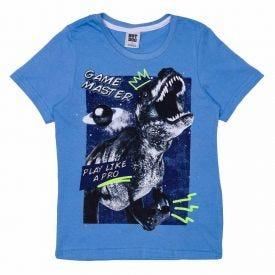 Camiseta 4 a 10 anos Malha Dino Hot Dog Azul Hj53053