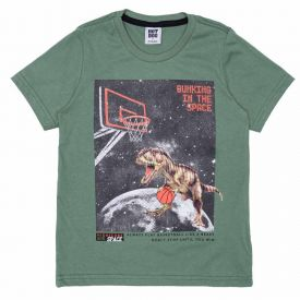 Camiseta 4 a 10 anos Malha Dino Hot Dog Verde Hj 51575