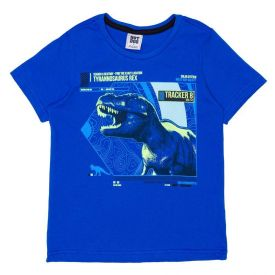 Camiseta 4 a 10 anos Malha Dino Hot Dog Azul Hj7912