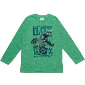 Camiseta 4 a 10 anos Malha Dinossauro Bike Fakini Verde