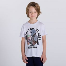 Camiseta 4 a 10 anos Malha Star Wars The Mandalorian Disney Branco