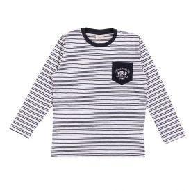 Camiseta 4 a 10 anos Meia Malha Botonê Listrado Fakini Asfalto