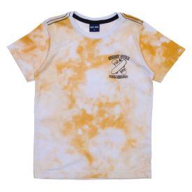 Camiseta 4 a 10 anos Tie Dye Hot Dog Branco Com Amarelo Queimado