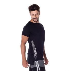 Camiseta Alongada com Estampa Scream Preto