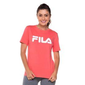Camiseta Basic Letter Fila Rosa Coral