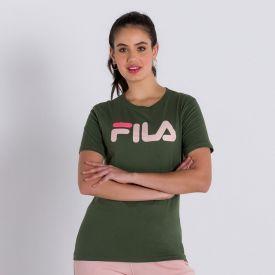 Camiseta Basic Letter Fila Verde Militar