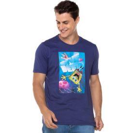 Camiseta Bob Esponja Dive Deed Nickelodeon Azul Marinho