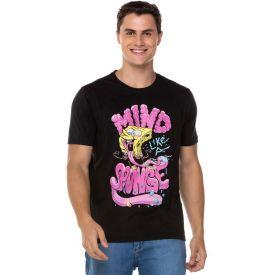 Camiseta Bob Esponja Mind Sponge Nickelodeon Preto