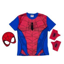 Camiseta de 4 a 10 Anos Homem Aranha + Brindes Marvel Azul Escuro