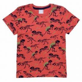 Camiseta de Bebê M/Malha Dino Rotativo Yoyo Baby Coral