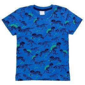 Camiseta de Bebê M/Malha Dino Rotativo Yoyo Baby Azul Medio