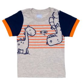 Camiseta de Bebê Menino M/Malha Dino Listrado Yoyo Baby Mescla Banana