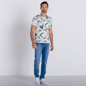 Camiseta Digital Folhas Rovitex Off White