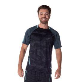Camiseta Dry Camuflada Local Surf Preto/Verde Agua