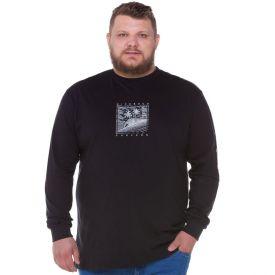 Camiseta Plus Size Estampada Surfers Nicoboco Preto