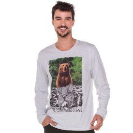Camiseta Estampada Urso Marc Alain Mescla Branco
