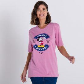 Camiseta Estonada Alongada Mickey Disney Rosa